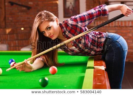 Snooker kız esmer seksi kadın oturma Stok fotoğraf © mtoome