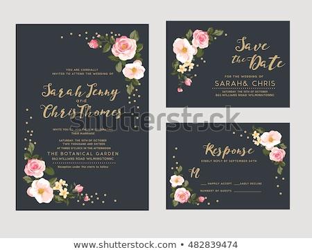 Retro esküvői meghívó rózsaszín színek tavasz szeretet Stock fotó © AnnaVolkova