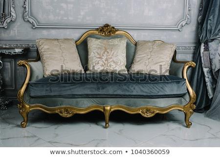 vermelho · sofá · lustre · real · interior · parede - foto stock © victoria_andreas