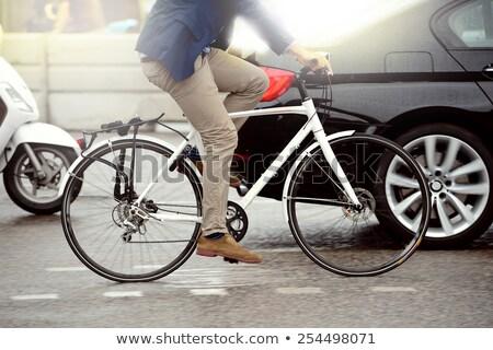 piros · bicikli · ház · tengerpart · cirkáló · kerítés - stock fotó © kawing921
