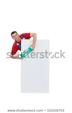 Man stood with wet paint sign Stock photo © photography33