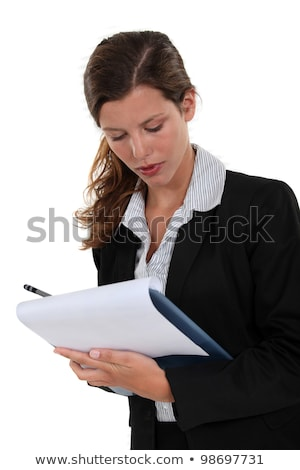 brunette writing on clip board stock photo © photography33