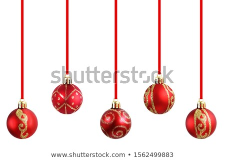 five colourful christmas baubles close up stock photo © calvste