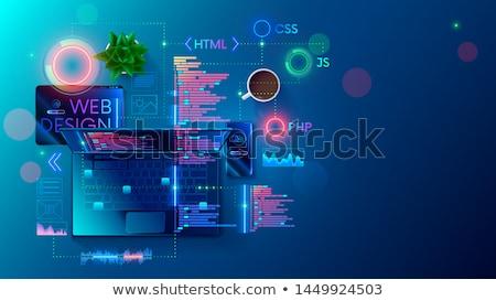 világháló · ujj · mutat · szófelhő · üzlet · terv - stock fotó © kbuntu
