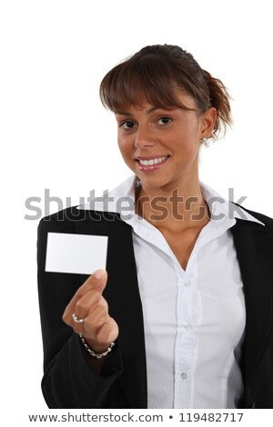 Brunette brandishing business card Stock photo © photography33