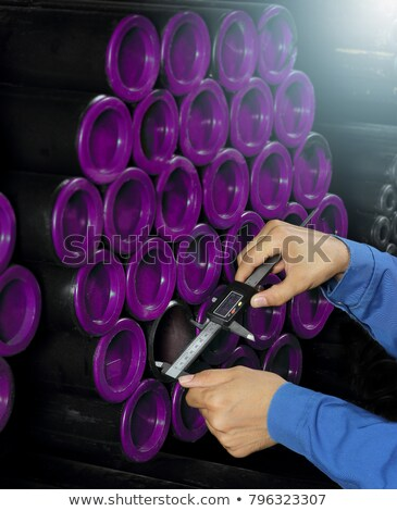 plumber measuring plastic pipe stock photo © photography33