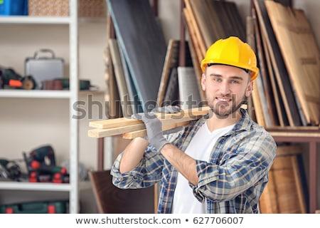 építőmunkás fából készült deszkák férfi fa építkezés Stock fotó © lightkeeper