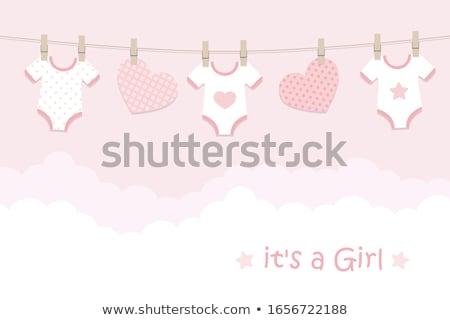Stock fotó: új · baba · közlemény · kártya · kislány · mosoly