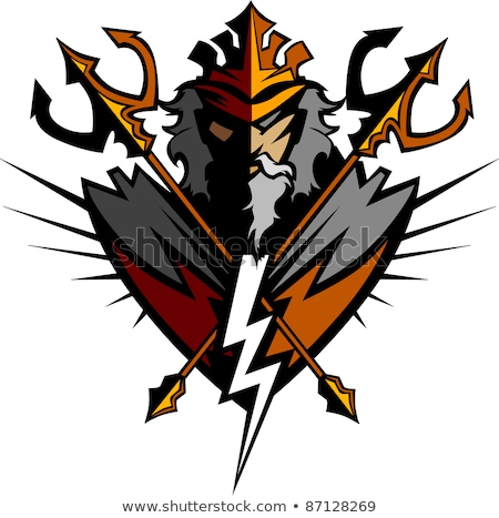 Titan Mascot with Trident and Crown Graphic Vector Illustration Stock photo © chromaco
