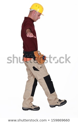 Bouwer lopen strak touw Rood financieren Stockfoto © photography33