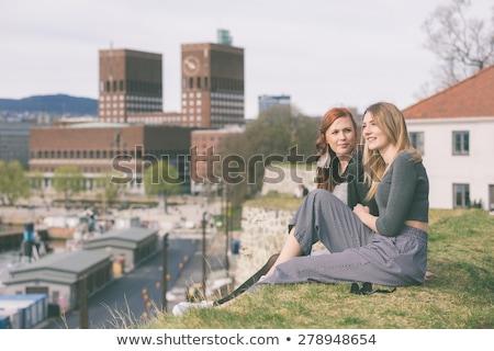 comprometido · casal · jovem · feliz · raso · campo - foto stock © konradbak