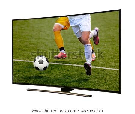 pantalla · del · ordenador · cielo · azul · aislado · blanco · ordenador · televisión - foto stock © pinkblue