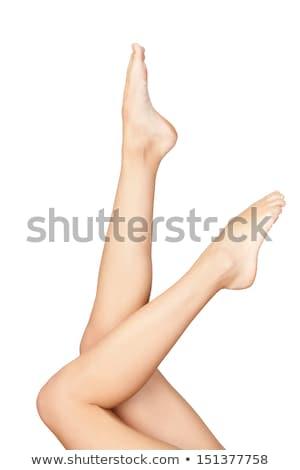 Güzel genç kadın tozluk yalıtılmış beyaz seksi Stok fotoğraf © acidgrey