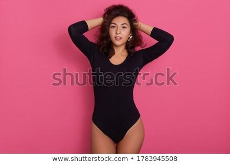 情熱的な 小さな ブルネット 黒 服 孤立した ストックフォト © acidgrey