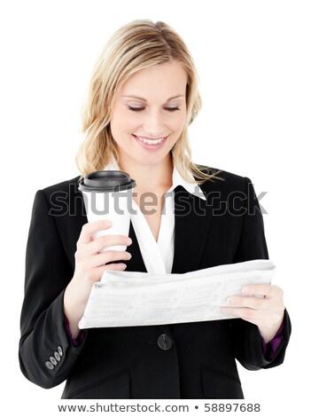 Femme d'affaires lecture journal blanche papier heureux Photo stock © wavebreak_media