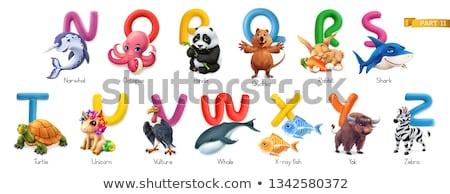 ábécé rajzolt állatok kutya oktatás levél olvas Stock fotó © jenpo