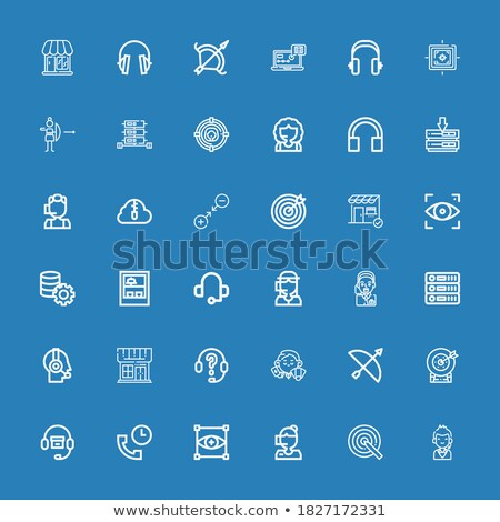 íjászat · piktogram · kék · logo · íj · szöveg - stock fotó © seiksoon