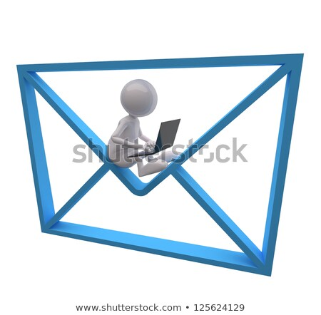 3d People With Blue Mail And Laptop Photo stock © quka