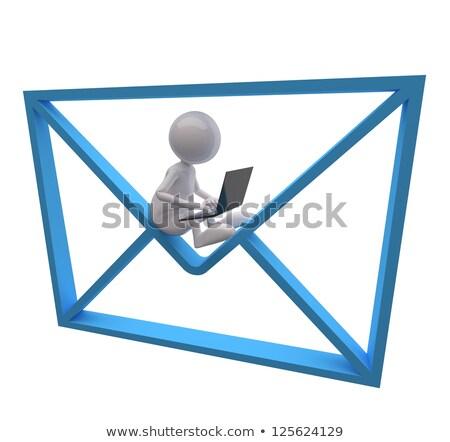 3d · pessoas · azul · e-mail · laptop · branco · tecnologia - foto stock © Quka