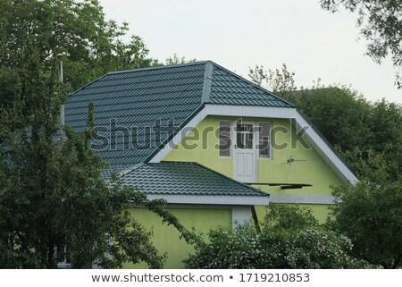 ストックフォト: 緑 · 家 · 白 · ドア · 自然 · 葉