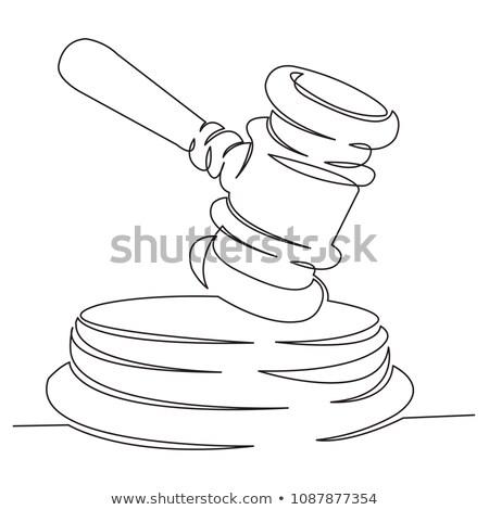 手 司法の ハンマー 図面 白 にログイン ストックフォト © mayboro