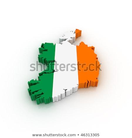 Irlanda · mapa · bandeira · 3D · forma · isolado - foto stock © NiroDesign