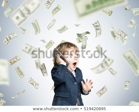 baba · pénz · portré · boldog · fiú · dollár - stock fotó © jarp17