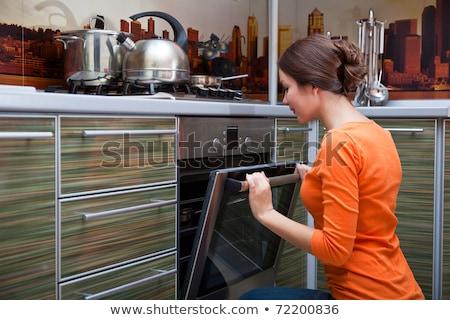 Kadın zarif mutfak çekici genç kadın akşam yemeği Stok fotoğraf © studiofi