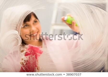 Pencere hizmetçi beyaz kadın bez Stok fotoğraf © wavebreak_media