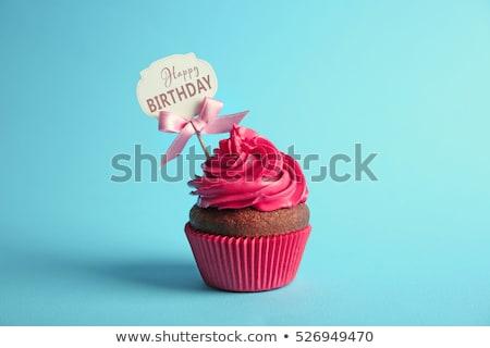 minitorta · jegyzet · virág · asztal · szeretet · torta - stock fotó © oneinamillion