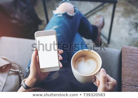 женщину · кружка · кофе · мобильных · красивой - Сток-фото © fantasticrabbit