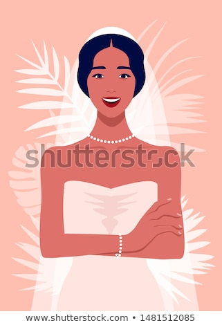 Gyönyörű fiatal lány menyasszonyi fátyol arc szemek Stock fotó © pandorabox