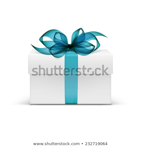 white gift box with blue ribbon and bow on the gray background stock photo © maxpro
