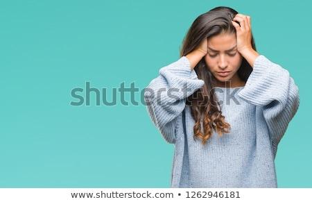Enxaqueca mulher jovem mulher mão cara Foto stock © javiercorrea15