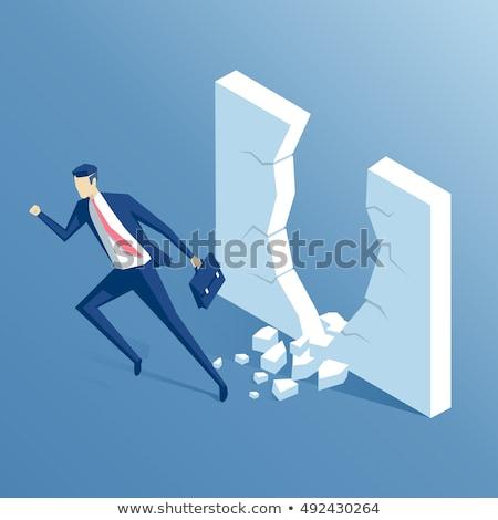 3d business man running to jump through a barrier Stock photo © Istanbul2009