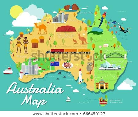 Desenho animado Canberra linha do horizonte silhueta cidade Austrália Foto stock © blamb