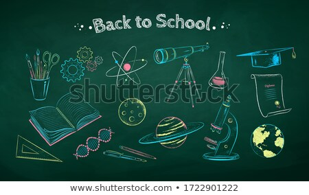 Microscope Icon on Retro Triangle Background. Stock photo © tashatuvango