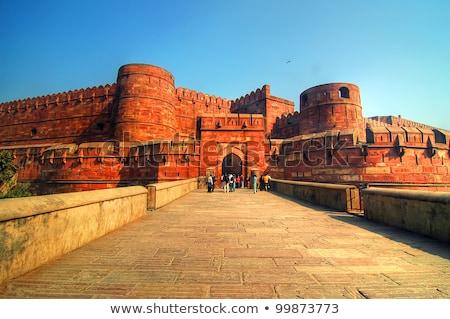 red fort in agra amar singh gate india uttar pradesh stock photo © meinzahn