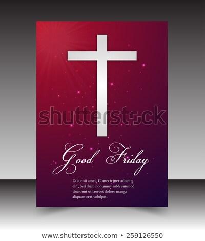 Iyi renkli broşür şablon İsa çapraz Stok fotoğraf © bharat