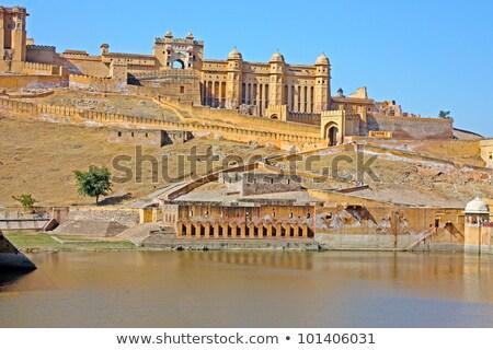 Güzel kehribar kale şehir Hindistan kadınlar Stok fotoğraf © meinzahn