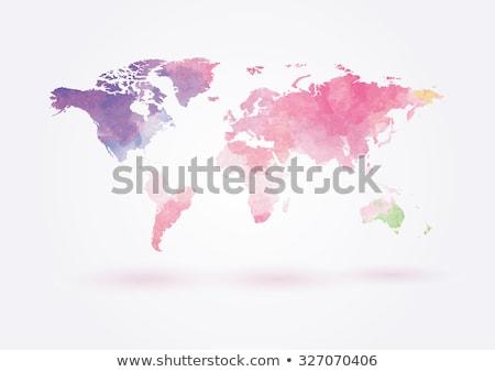 Wereldkaart aquarel schilderij Blauw groene aarde Stockfoto © beaubelle
