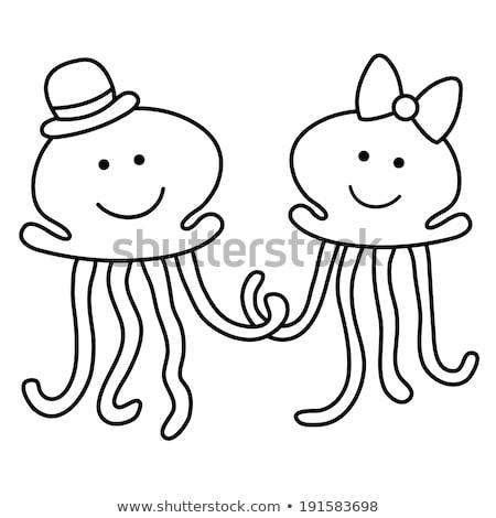 Illusztráció friss házasok könyv hal természet terv Stock fotó © blackberryjelly