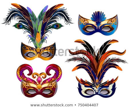 venetian carnival mask with colorful feathers stock photo © gladiolus