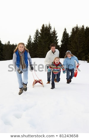 Young Family Running Through Snow With Sled Stock photo © monkey_business