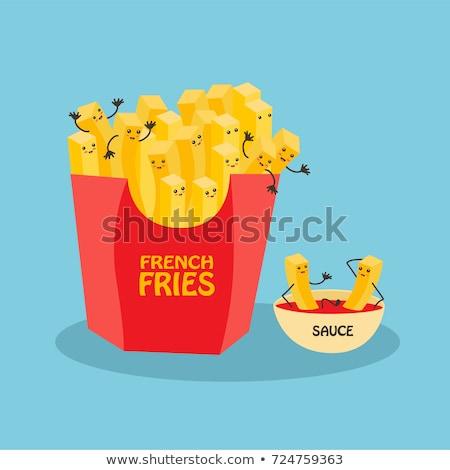 Szendvics sültkrumpli ketchup étterem sajt tábla Stock fotó © M-studio