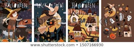 halloween · cadı · kız · mutlu · çapraz · ay - stok fotoğraf © jackybrown