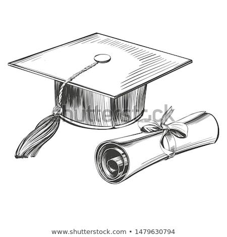 graduação · boné · diploma · rolar · canto · educação - foto stock © kali
