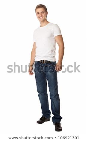 Egészalakos erős fiatalember fehér visel póló Stock fotó © stryjek
