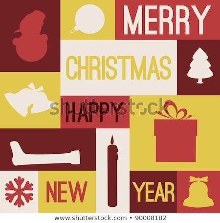 vector retro christmas card with various seasonal shapes stock photo © orson