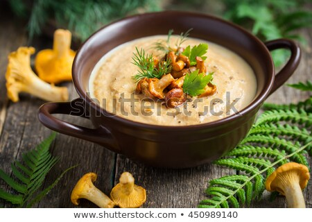 Stock photo: Soup with Chanterelle Mushrooms